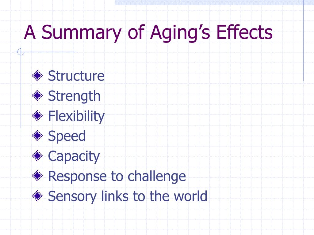 A Summary of Aging's Effects