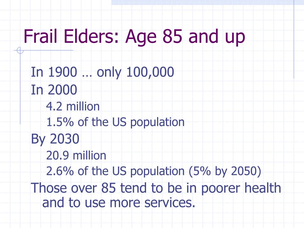 Frail Elders: Age 85 and up