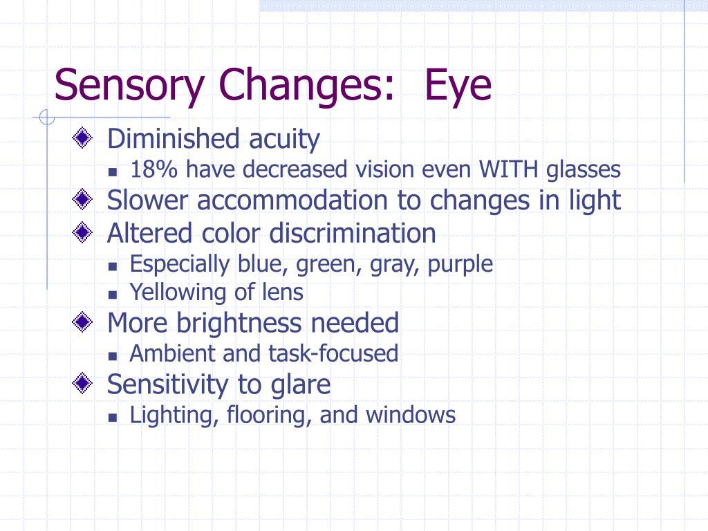 Sensory Changes:  Eye