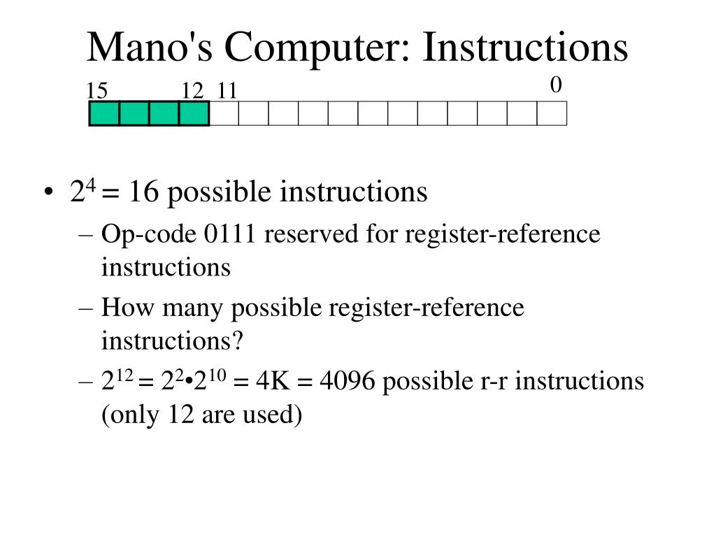 Mano's Computer: Instructions