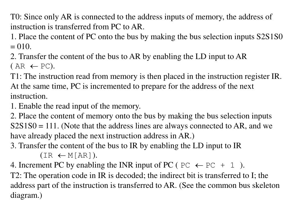 T0: Since only AR is connected to the address inputs of memory, the address of instruction is transferred from PC to AR.