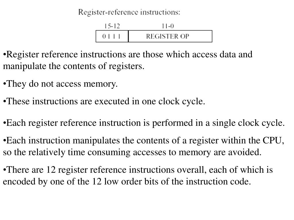 Register reference instructions are those which access data and manipulate the contents of registers.