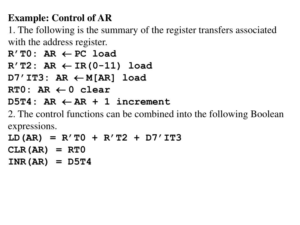 Example: Control of AR