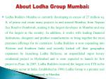 about lodha group mumbai
