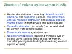 situation of violence against women in india
