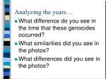 analyzing the years