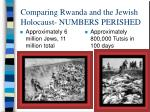 comparing rwanda and the jewish holocaust numbers perished
