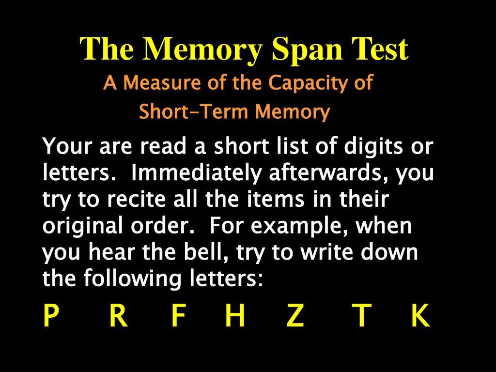 the memory span test l.