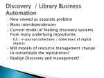 discovery library business automation