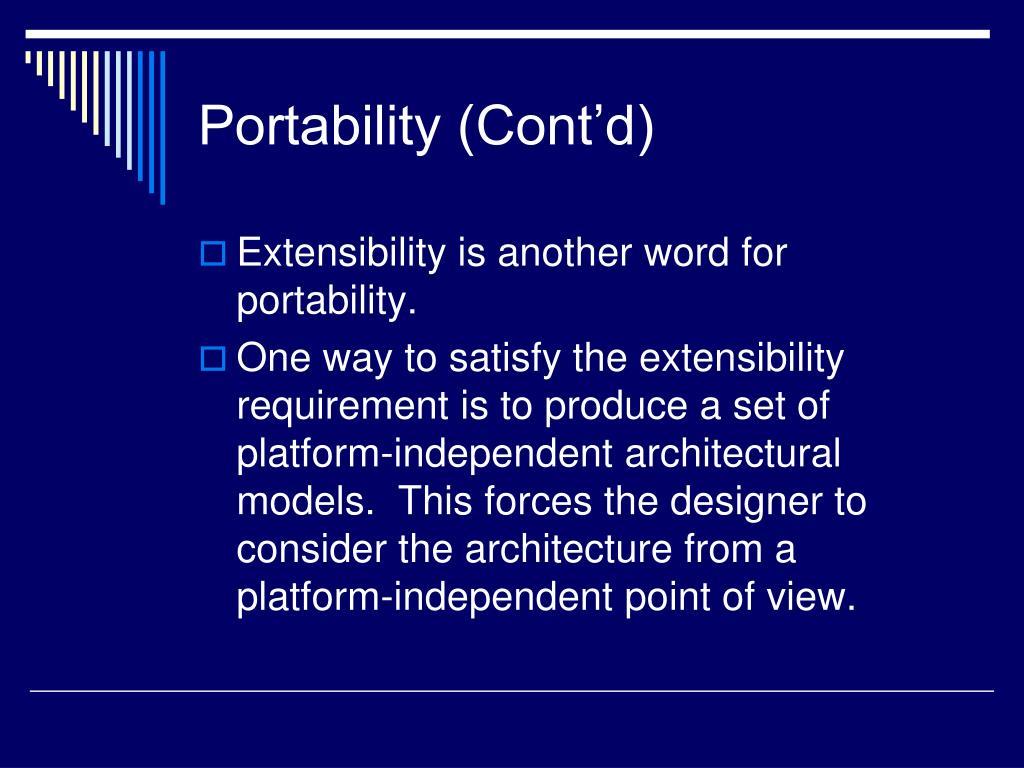 Portability (Cont'd)