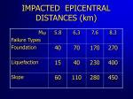 impacted epicentral distances km