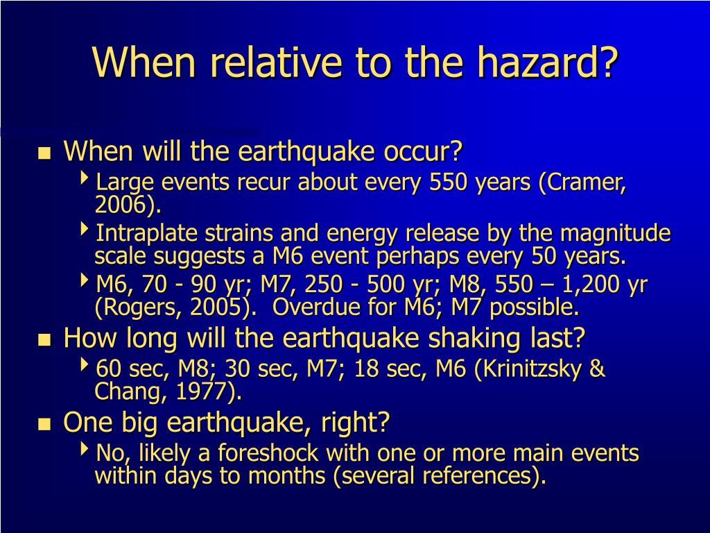 When relative to the hazard?