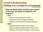 creative brainstorming finding ways to improve environment