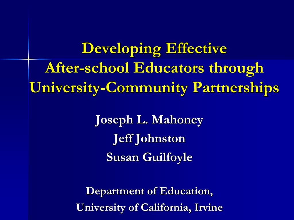 developing effective after school educators through university community partnerships l.