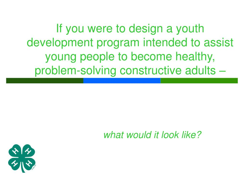 If you were to design a youth development program intended to assist young people to become healthy, problem-solving constructive adults –