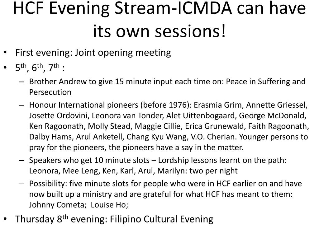 HCF Evening Stream-ICMDA can have its own sessions!