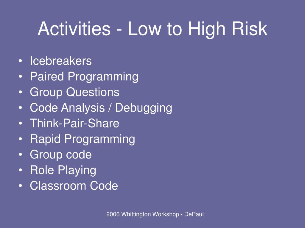 Activities - Low to High Risk