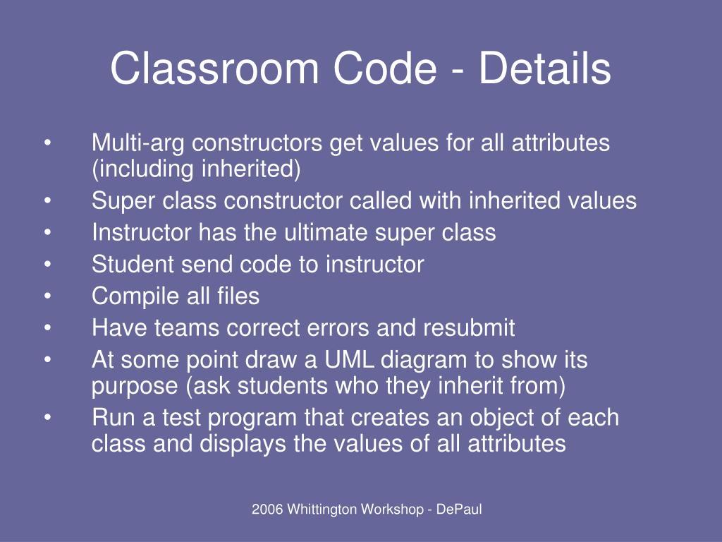 Classroom Code - Details