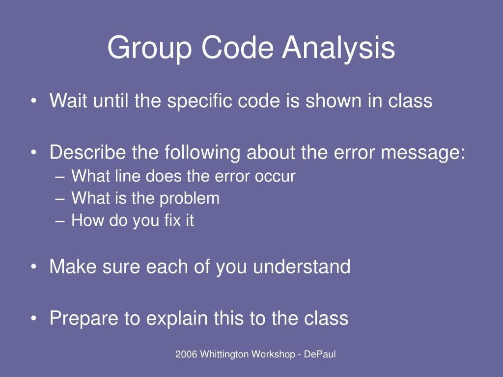Group Code Analysis