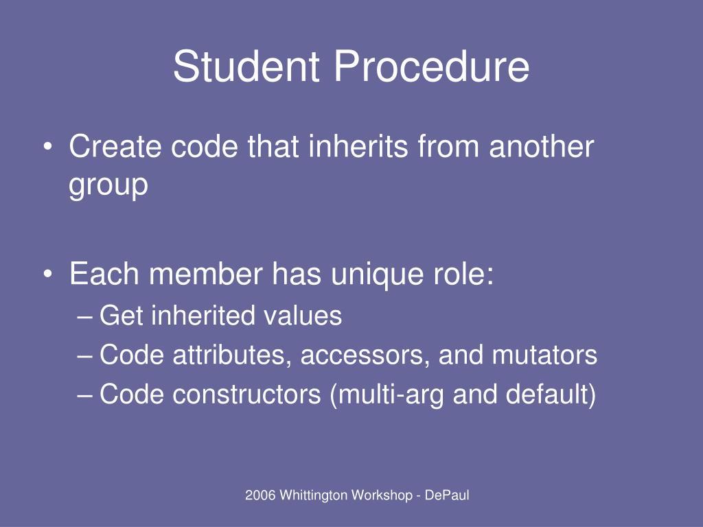 Student Procedure