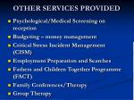 other services provided