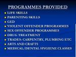 programmes provided