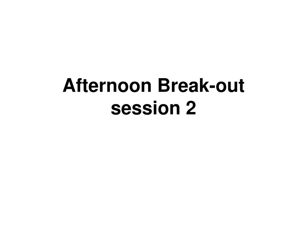 Afternoon Break-out session 2