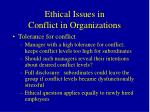 ethical issues in conflict in organizations