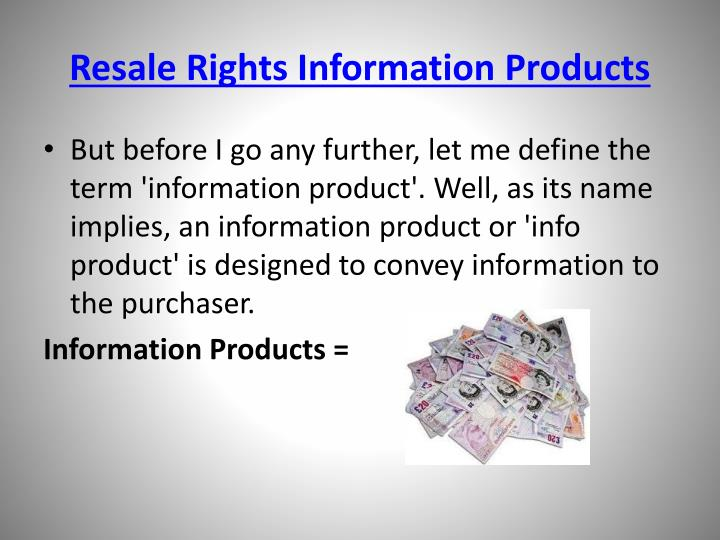 Resale rights information products3