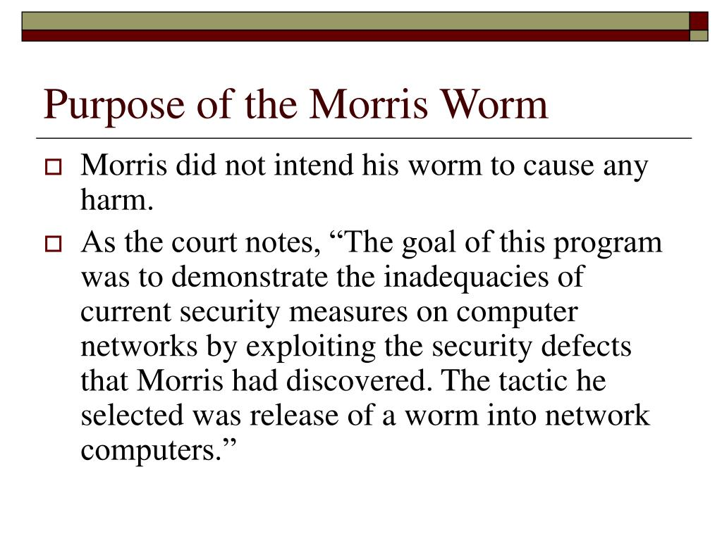 Purpose of the Morris Worm