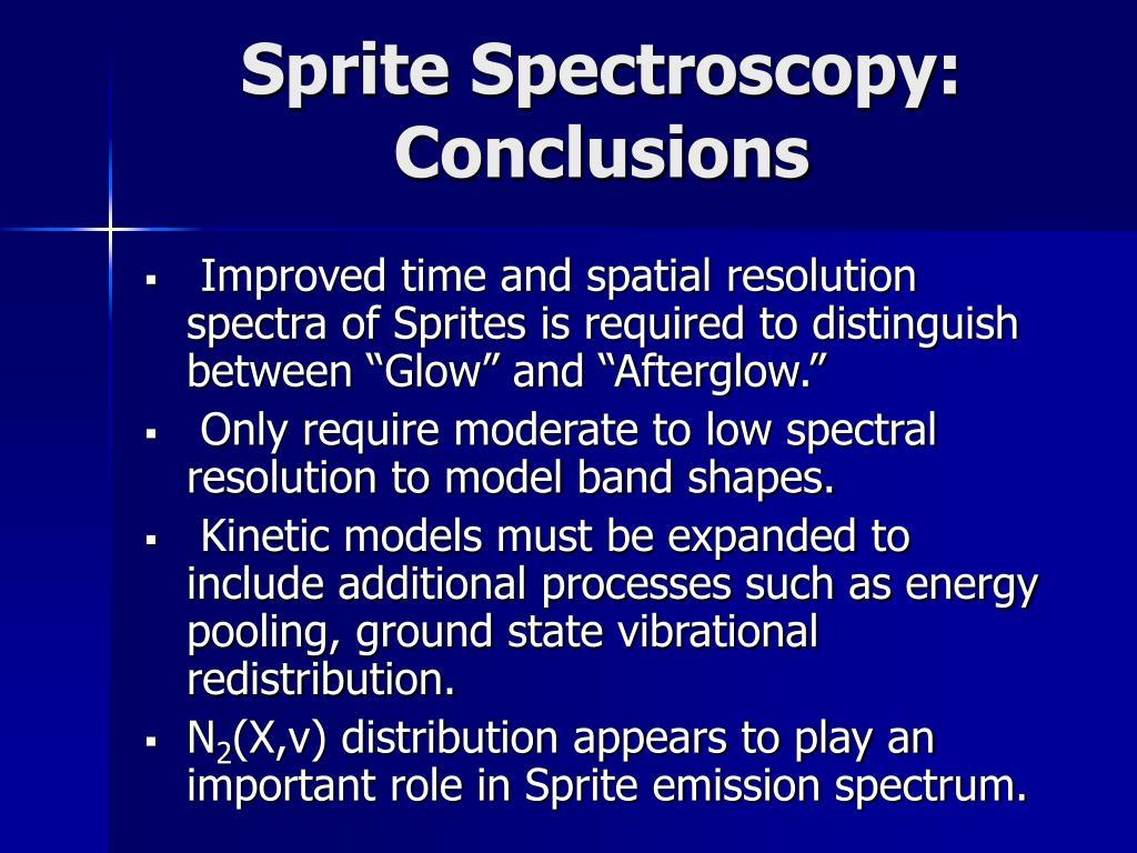 Sprite Spectroscopy: Conclusions