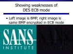 showing weaknesses of des ecb mode