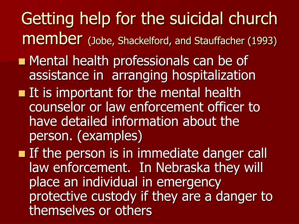 Getting help for the suicidal church member