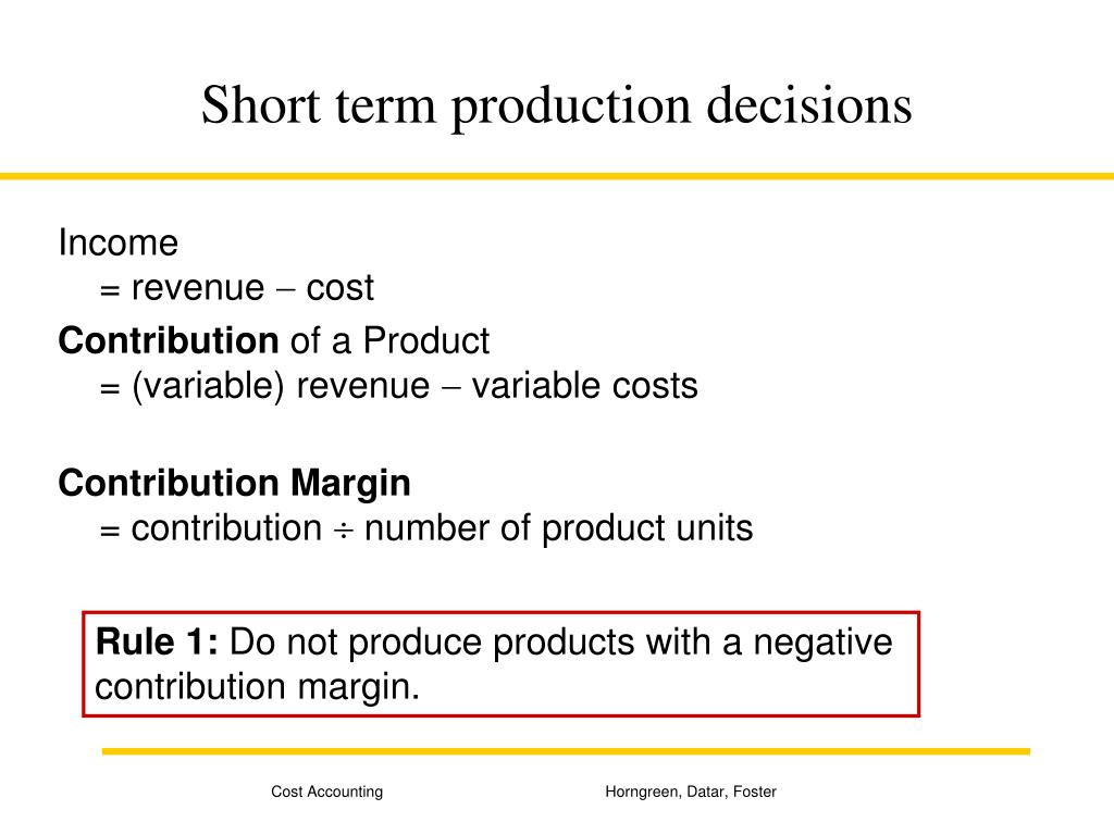Short term production decisions