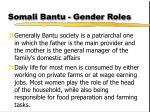 somali bantu gender roles