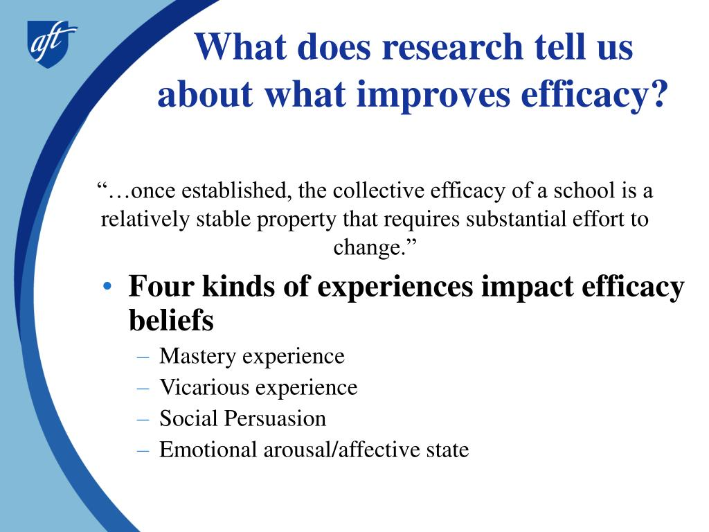 What does research tell us about what improves efficacy?