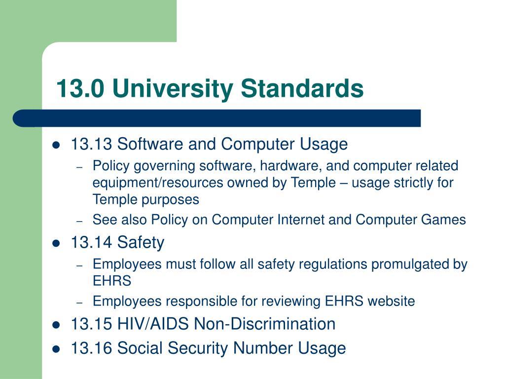 13.0 University Standards