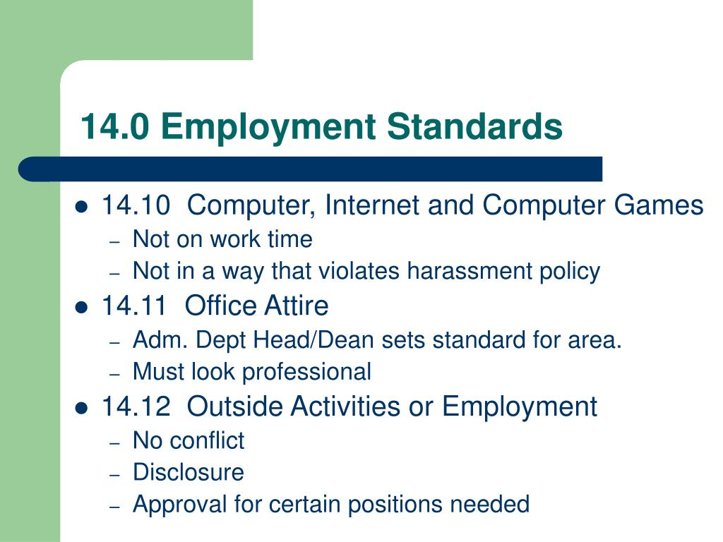 14.0 Employment Standards