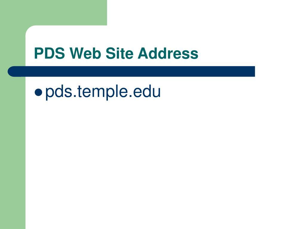 PDS Web Site Address