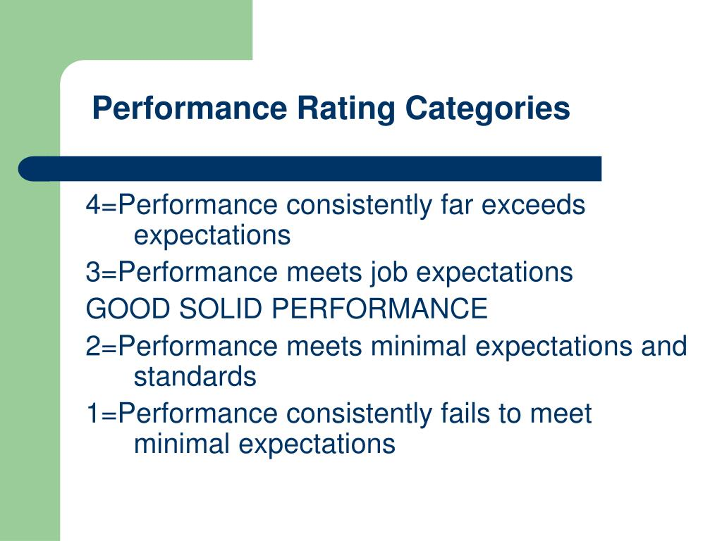 Performance Rating Categories