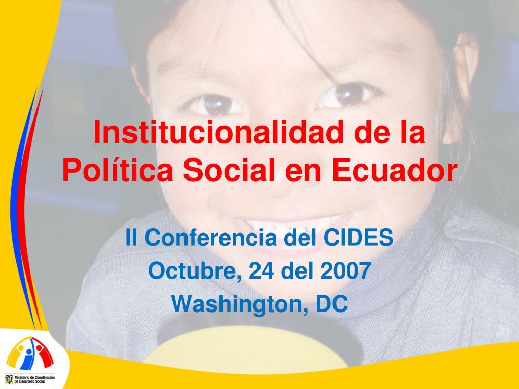 institucionalidad de la pol tica social en ecuador l.