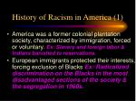 history of racism in america 1