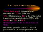 racism in america jobs
