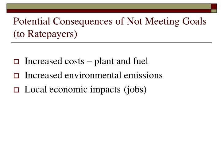 Potential consequences of not meeting goals to ratepayers