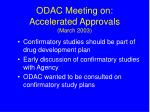 odac meeting on accelerated approvals march 200318