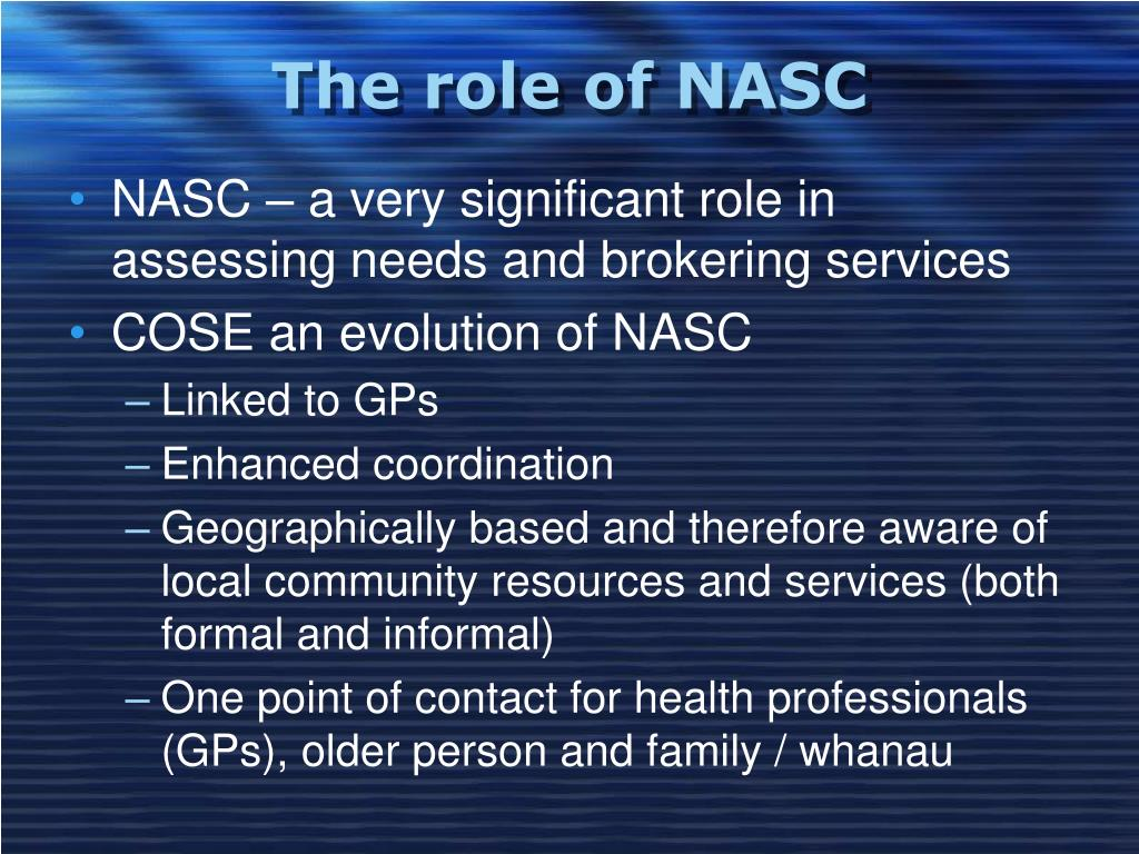 The role of NASC