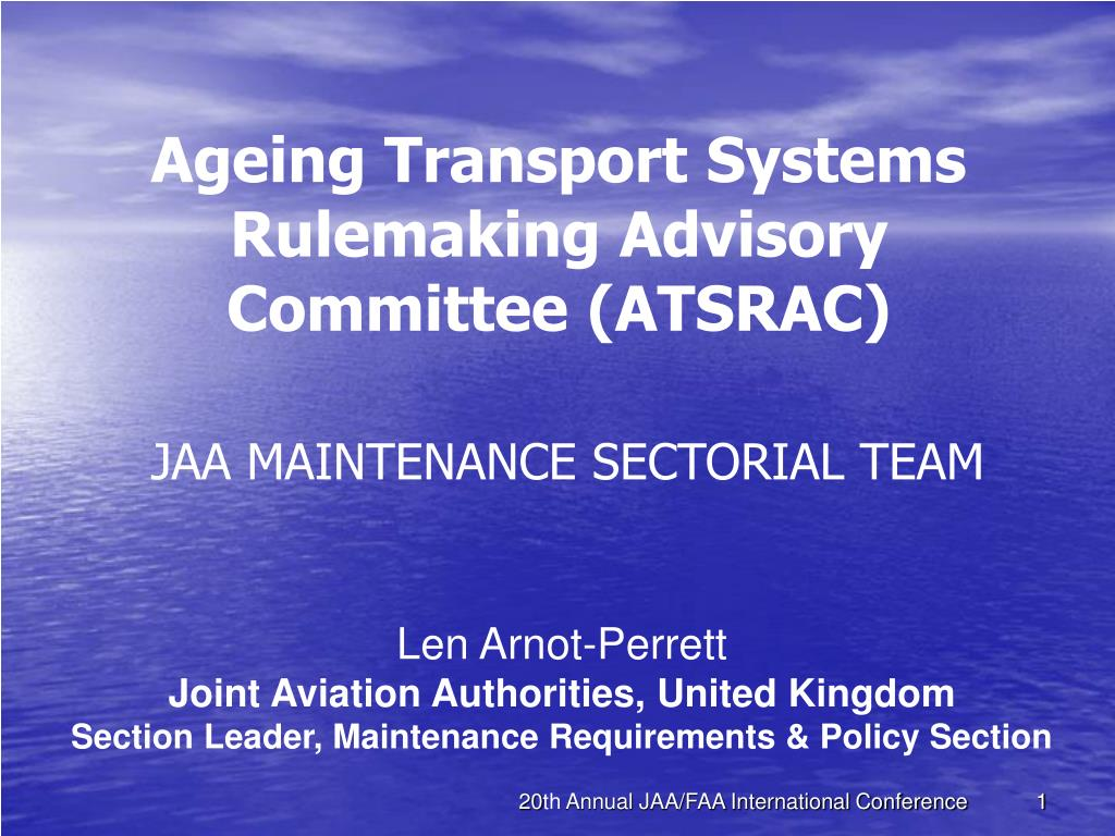 ageing transport systems rulemaking advisory committee atsrac jaa maintenance sectorial team l.