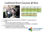 lockheed short courses @ rice