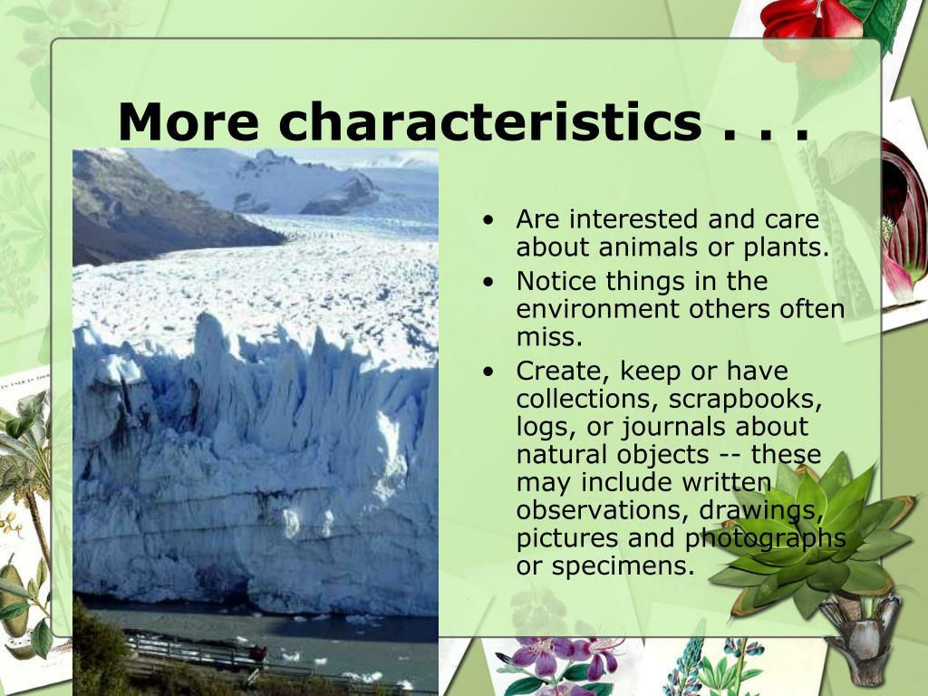 More characteristics . . .