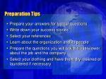 preparation tips